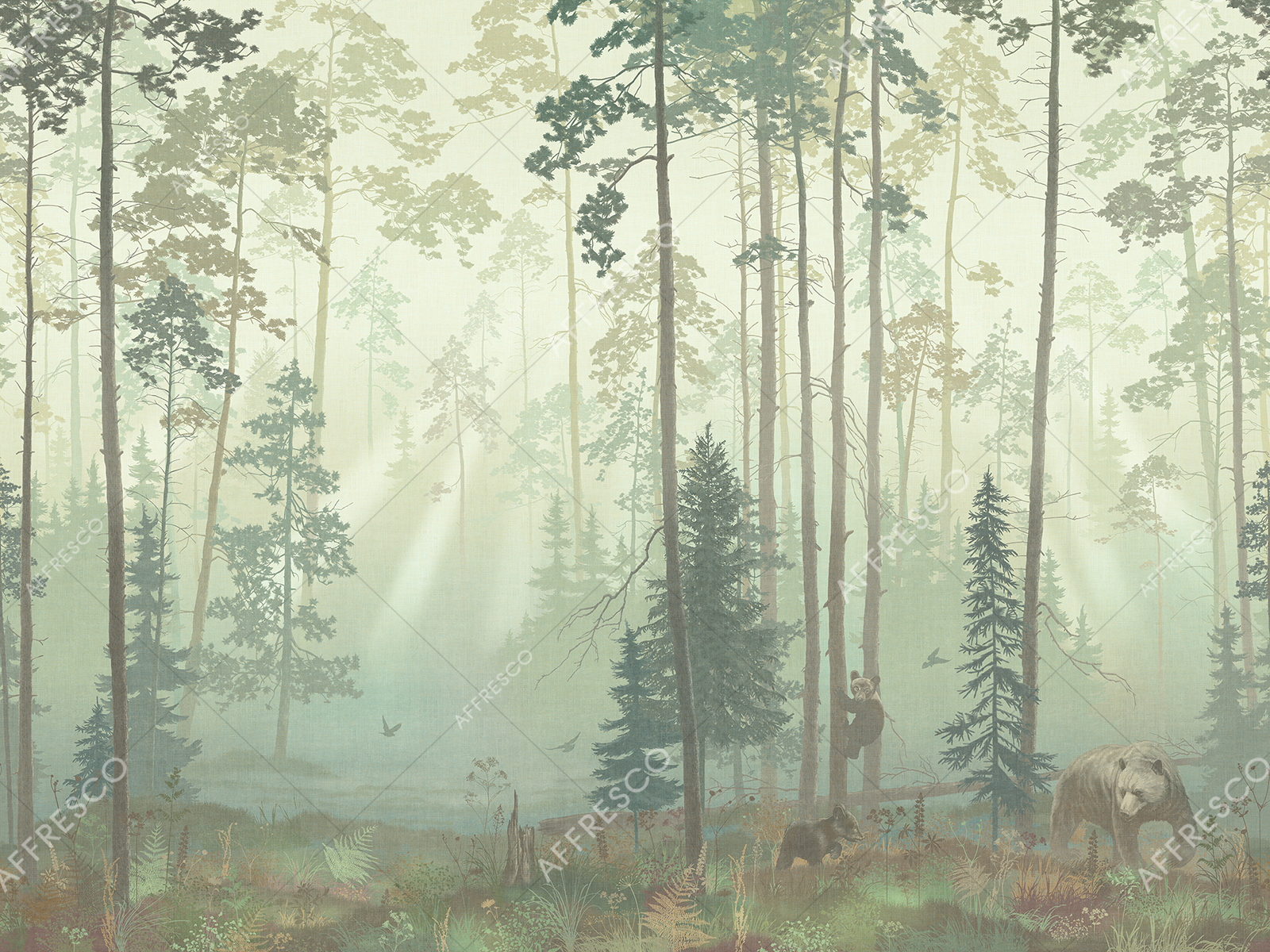 Handmade wallpaper, Bears in the Forest