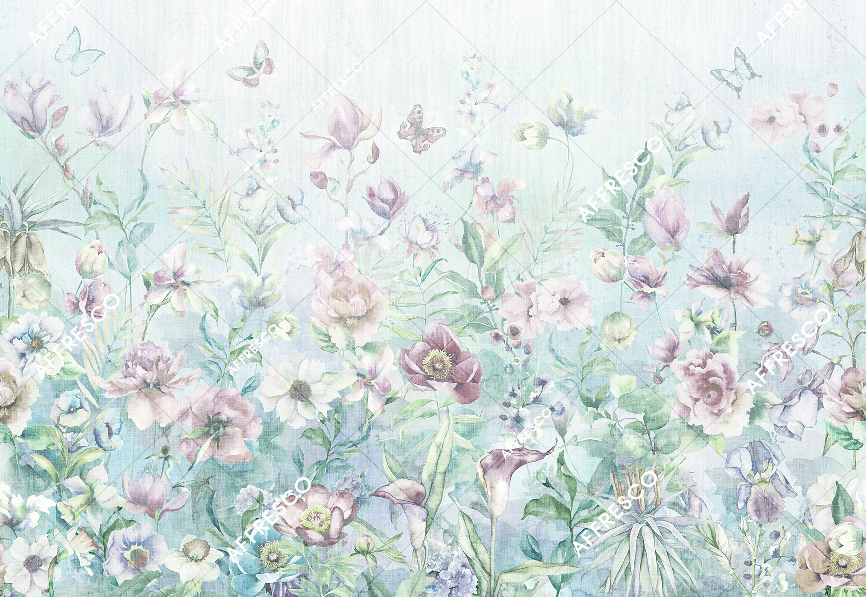 Handmade wallpaper, Watercolor Flowers Color 2