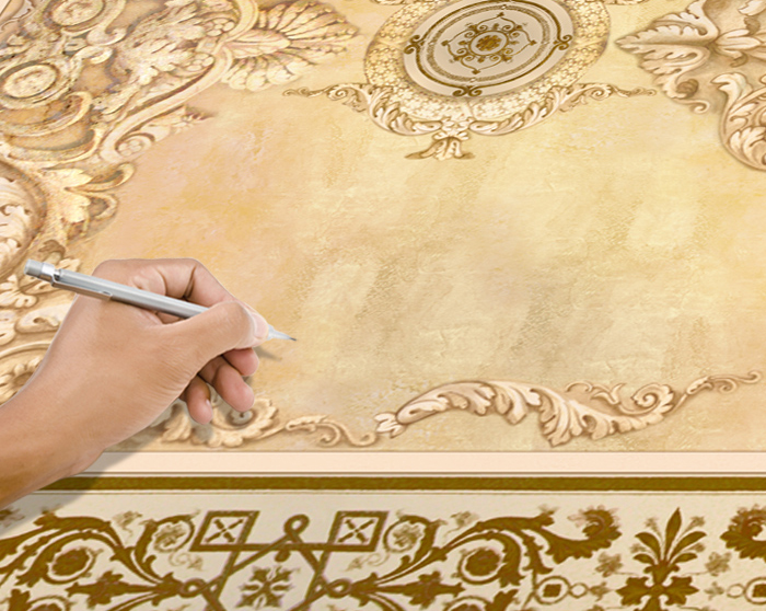 1. Place your fresco on the floor. Determine the start edge and mark it with a pencil.