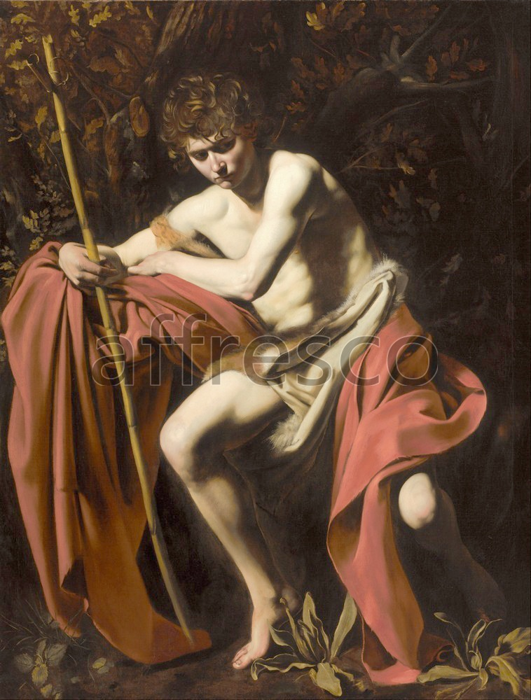 Biblical themes | Michelangelo Merisi called Caravaggio Saint John the Baptist in the Wilderness | Affresco Factory