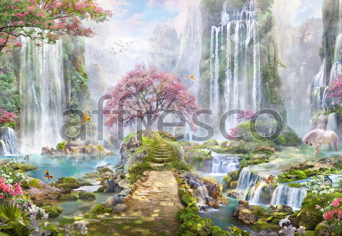 6548 | The best landscapes | Fantastic waterfalls with unicorn | Affresco Factory