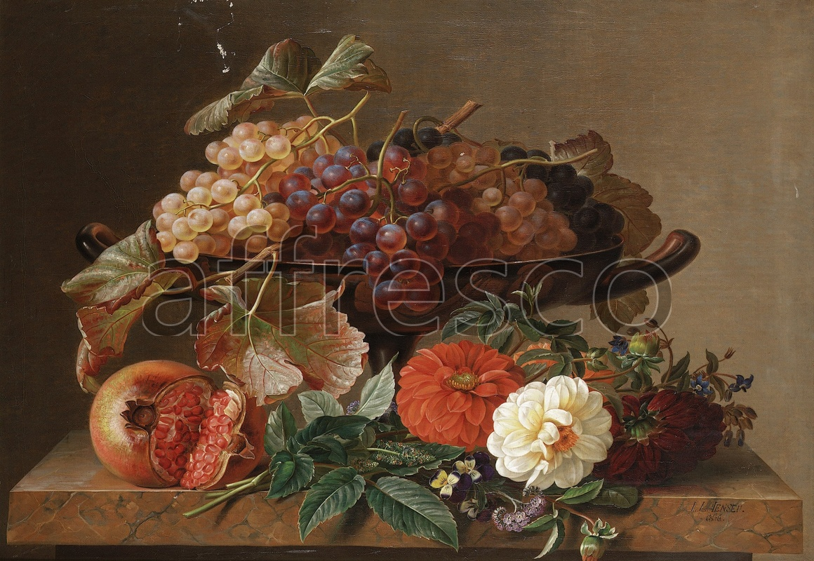 2202 | Still-Life Paintings | bowl with grapes | Affresco Factory