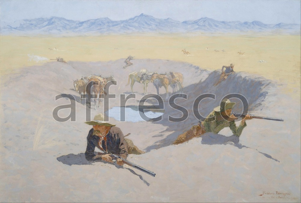 Scenic themes | Frederic Remington Fight for the Waterhole | Affresco Factory