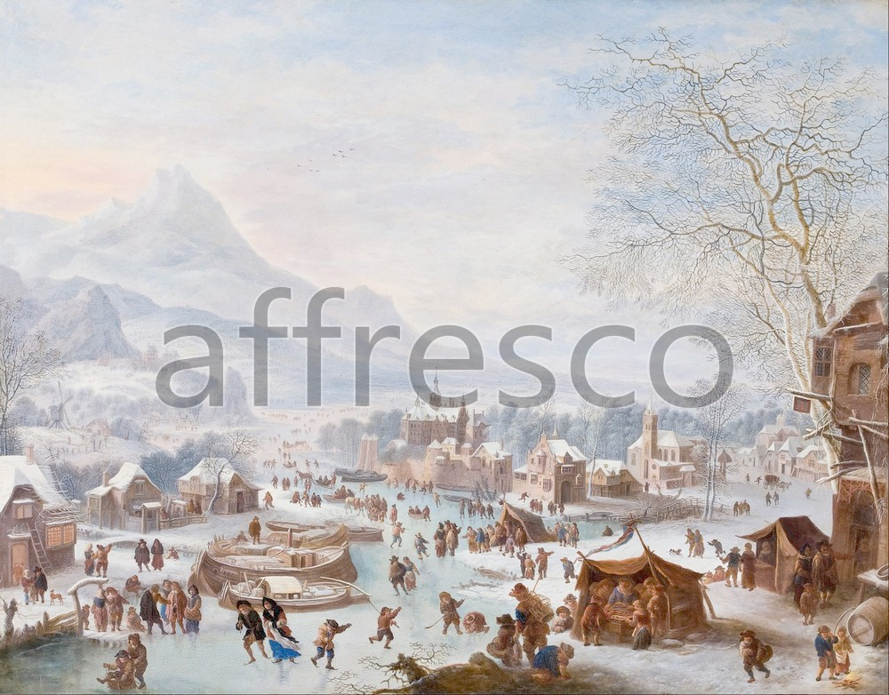 Scenic themes | Jan Griffier Winter Scene with Skaters | Affresco Factory