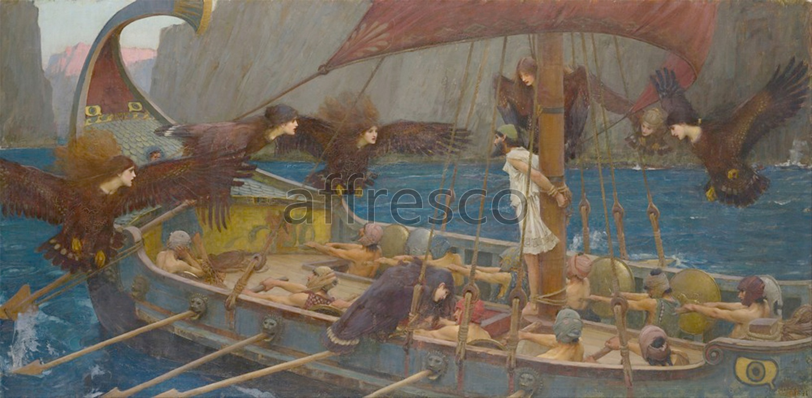 Classical antiquity themes | John William Waterhouse Ulysses and the Sirens | Affresco Factory
