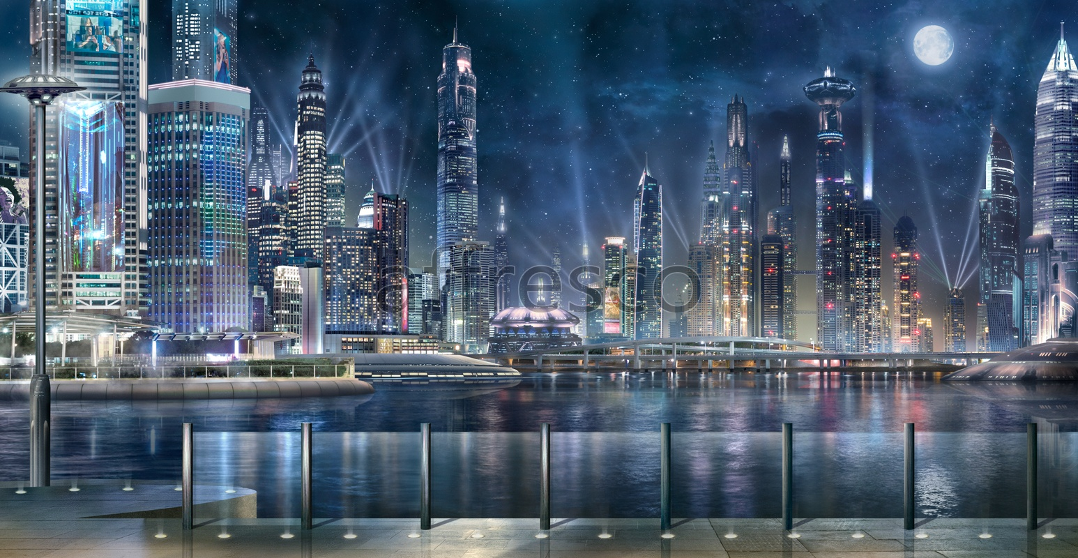 6501 | The best landscapes | Panorama of nightly skyscrapers | Affresco Factory