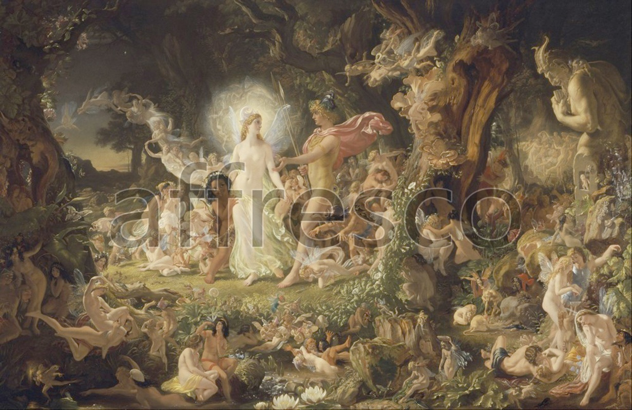 Classical antiquity themes | Sir Joseph Noel Paton The Quarrel of Oberon and Titania | Affresco Factory