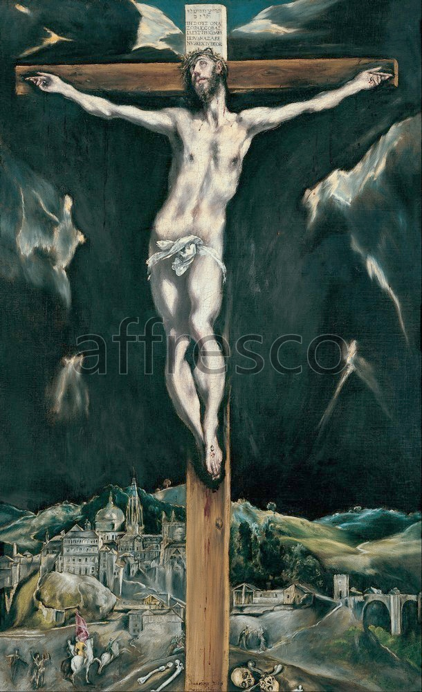 Biblical themes | Domenikos Theotokopoulos El Greco Christ crucified with Toledo in the Background | Affresco Factory