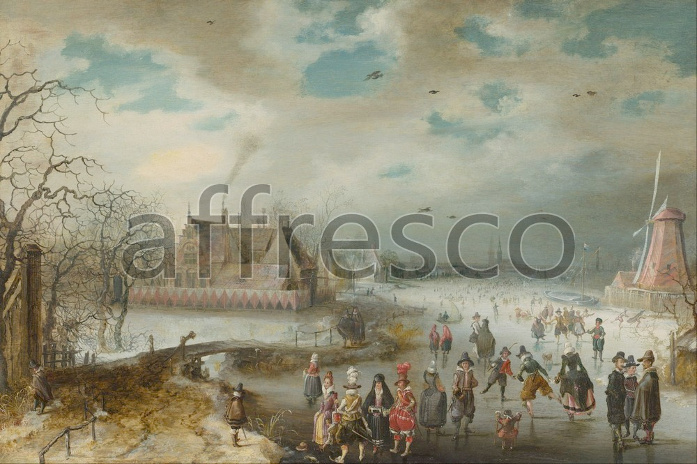 Scenic themes | Adam van Breen Skating on the Frozen Amstel River | Affresco Factory