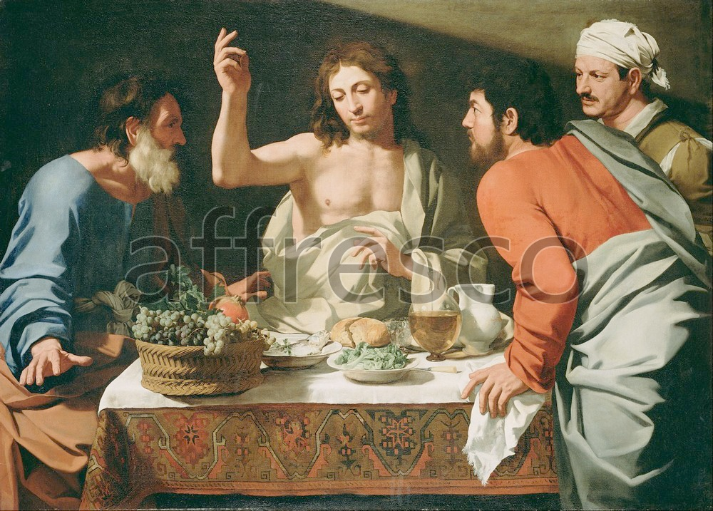 Biblical themes | Attributed to Bartolomeo Cavarozzi The Supper at Emmaus | Affresco Factory