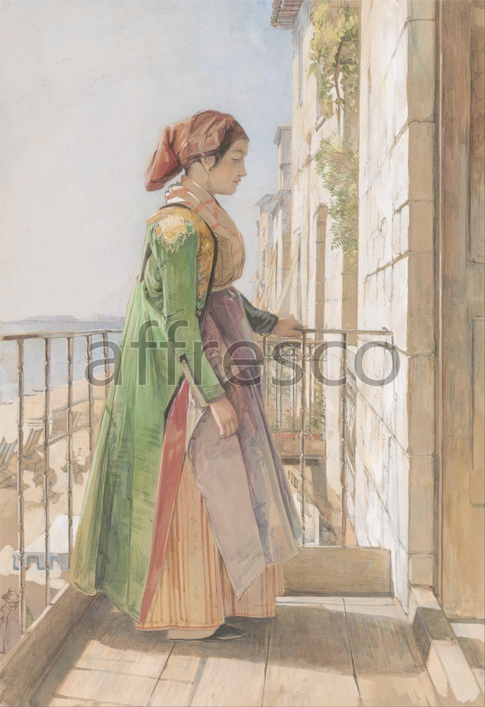 Scenic themes | John Frederick Lewis A Greek Girl Standing on a Balcony | Affresco Factory