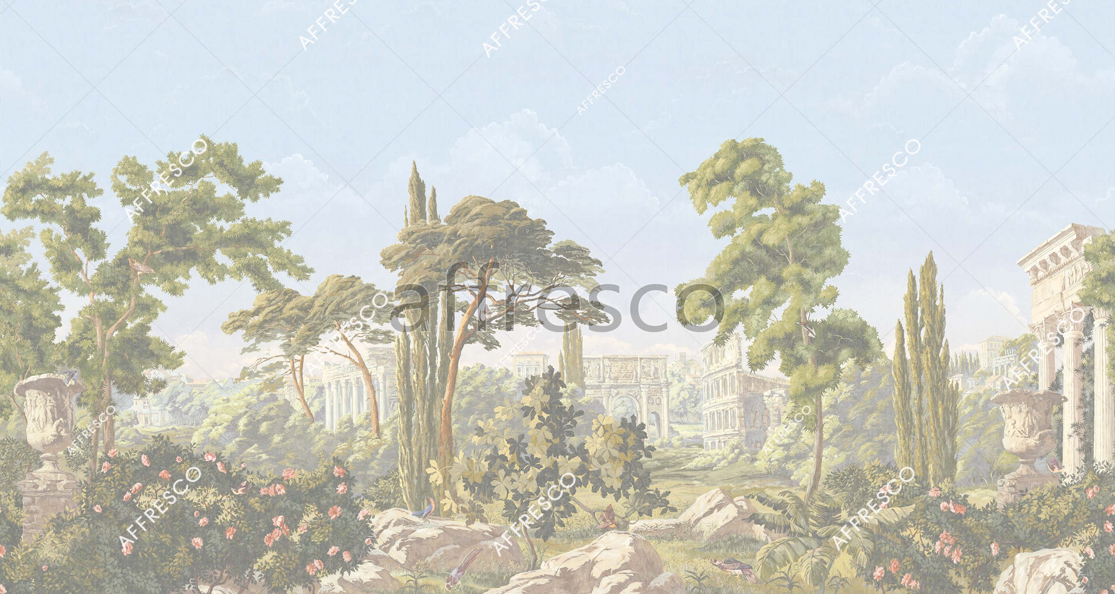 Handmade wallpaper, Roman landscape with ruins