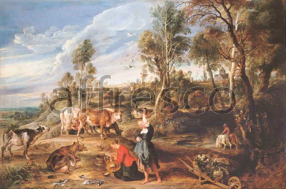 Scenic themes | Sir Peter Paul Rubens Milkmaids with Cattle in a Landscape The Farm at Laken | Affresco Factory