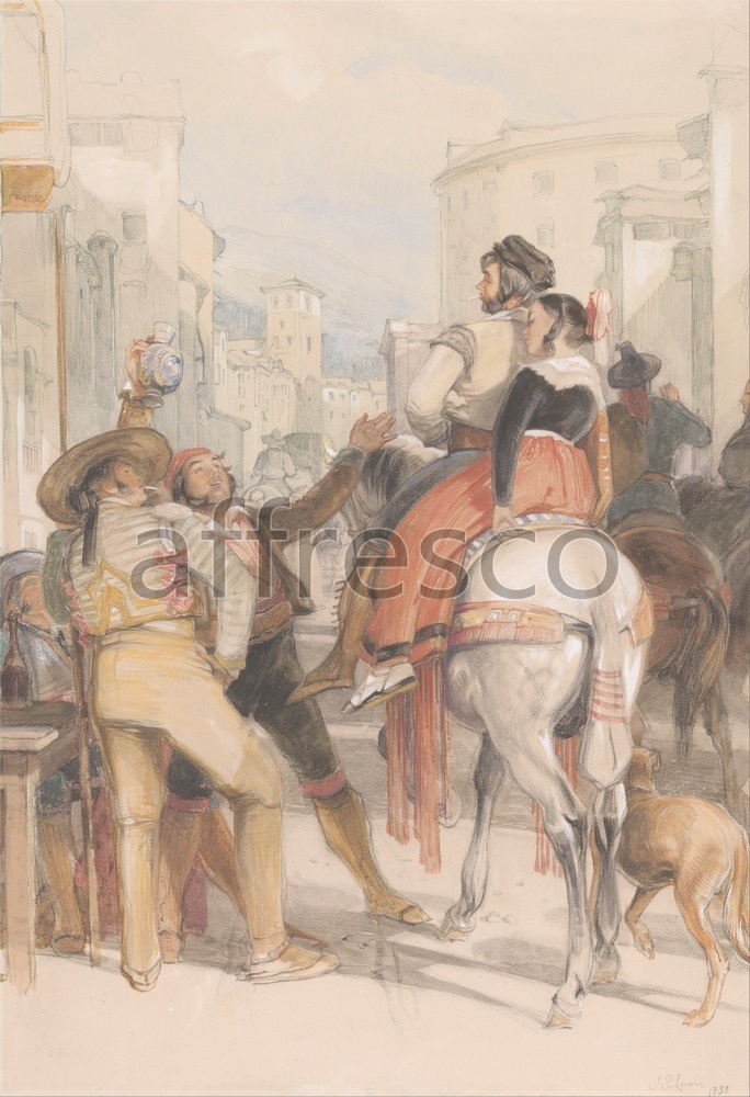 Scenic themes | John Frederick Lewis A Street Scene in Granada on the Day of the Bullfight | Affresco Factory