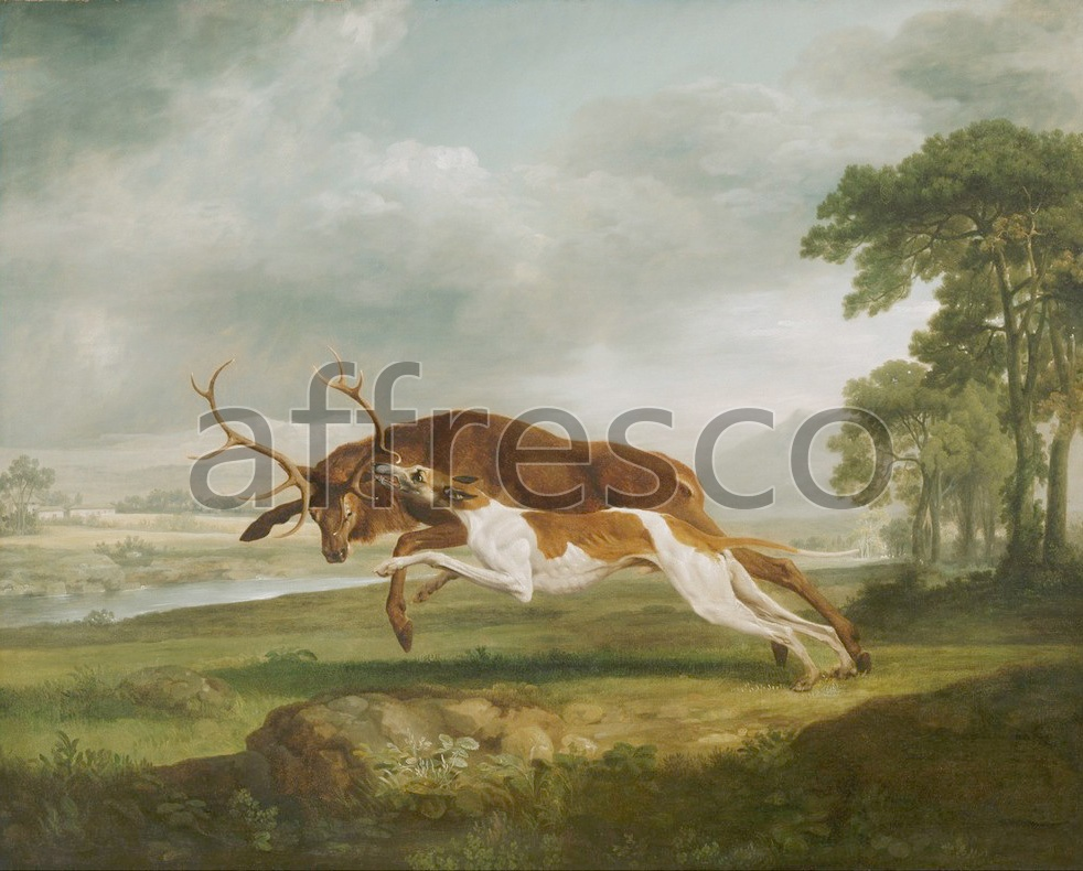 Paintings of animals | George Stubbs  Hound Coursing a Stag | Affresco Factory