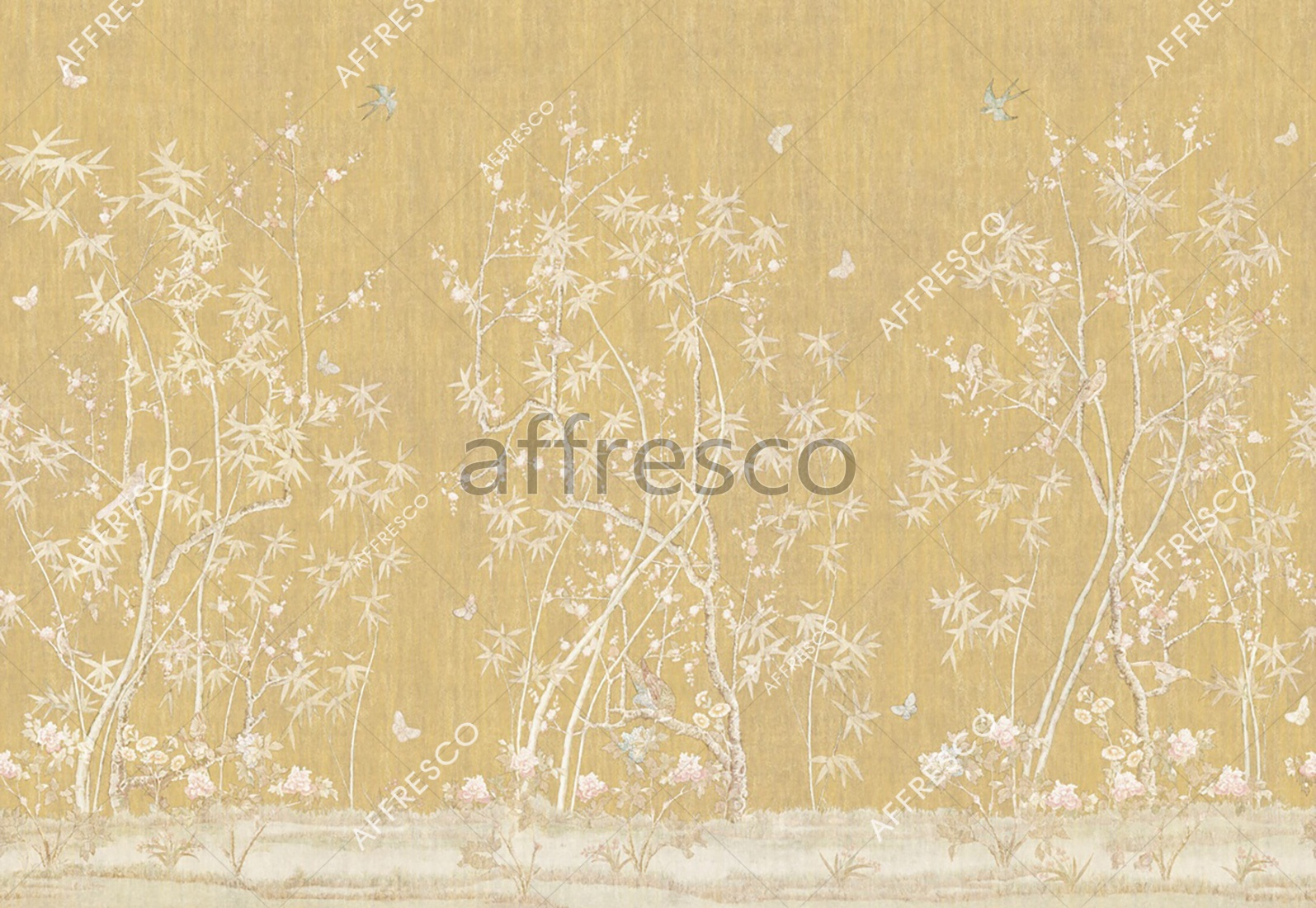 6889 | Gardens | Birds and butterflies on trees | Affresco Factory