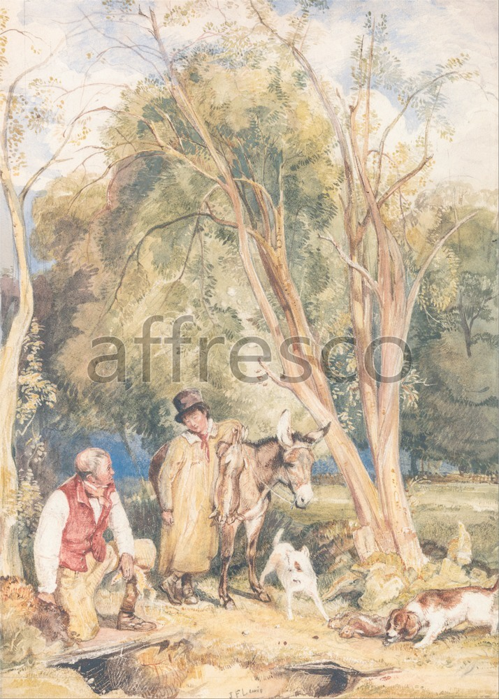 Scenic themes | John Frederick Lewis Game Keeper and Boy Ferreting a Rabbit | Affresco Factory