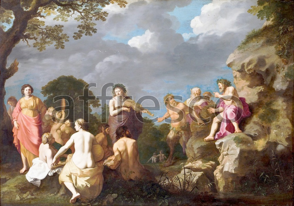 Classical antiquity themes | Cornelis van Poelenburgh The Musical Contest between Apollo and Marsyas | Affresco Factory