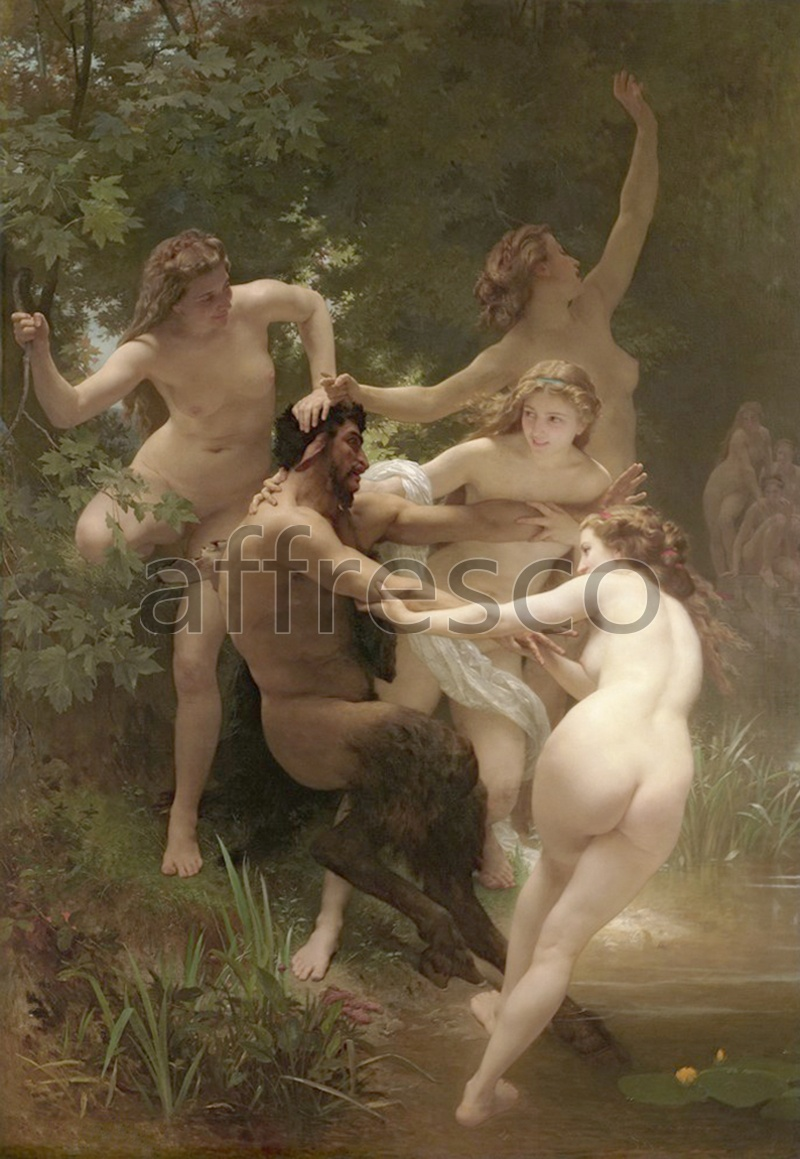 Classical antiquity themes | William Adolphe Bouguereau Nymphs and Satyr | Affresco Factory