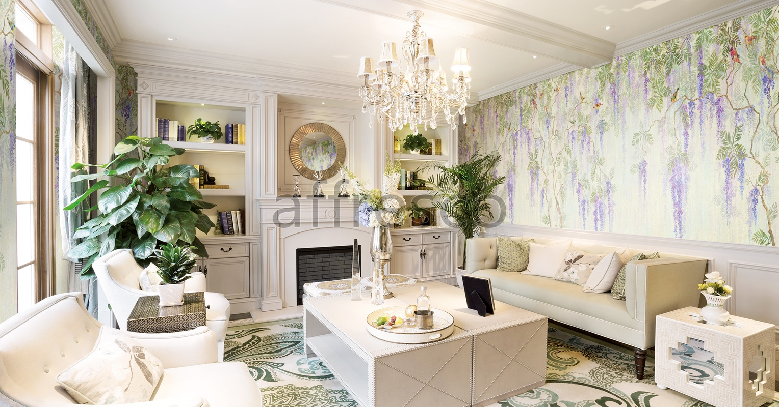 Handmade wallpaper, Wisteria In Bloom Color 3