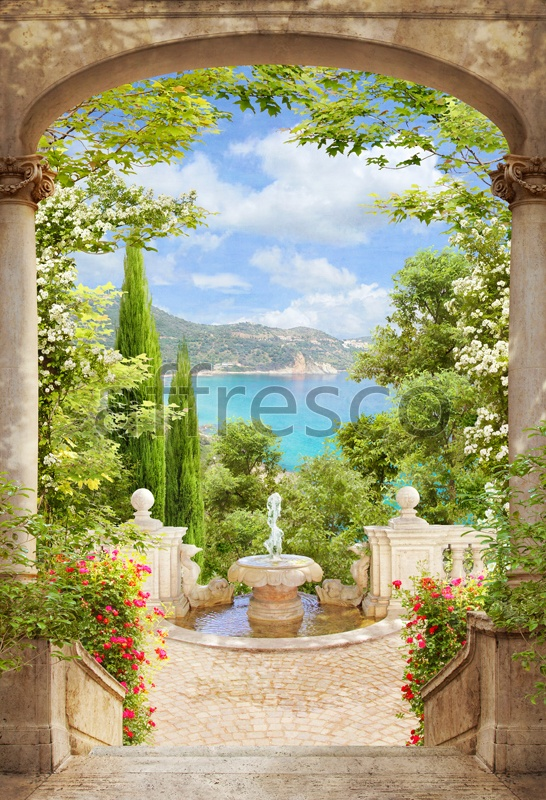 4987 | The best landscapes | Arch with fountain | Affresco Factory