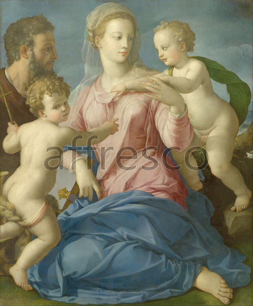 Biblical themes | Agnolo Bronzino The Holy Family with the Infant Saint John the Baptist | Affresco Factory