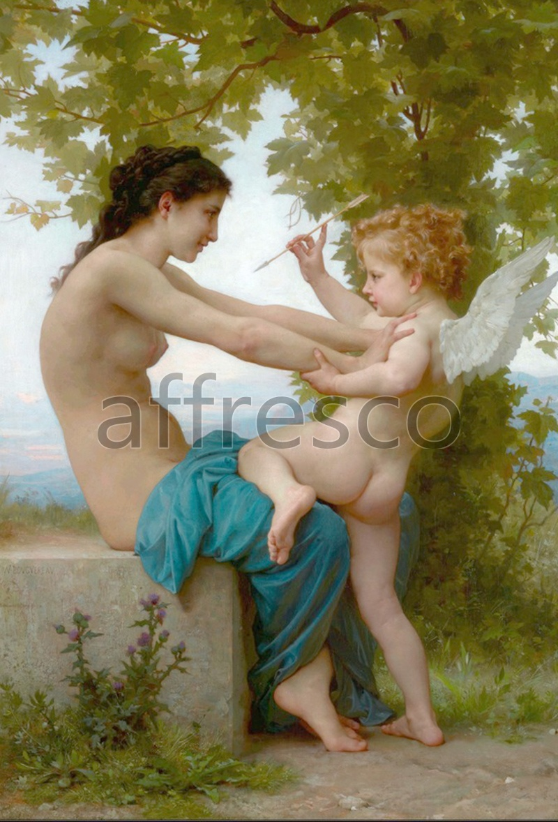 Classical antiquity themes | William Adolphe Bouguereau A Young Girl Defending Herself Against Eros 2 | Affresco Factory