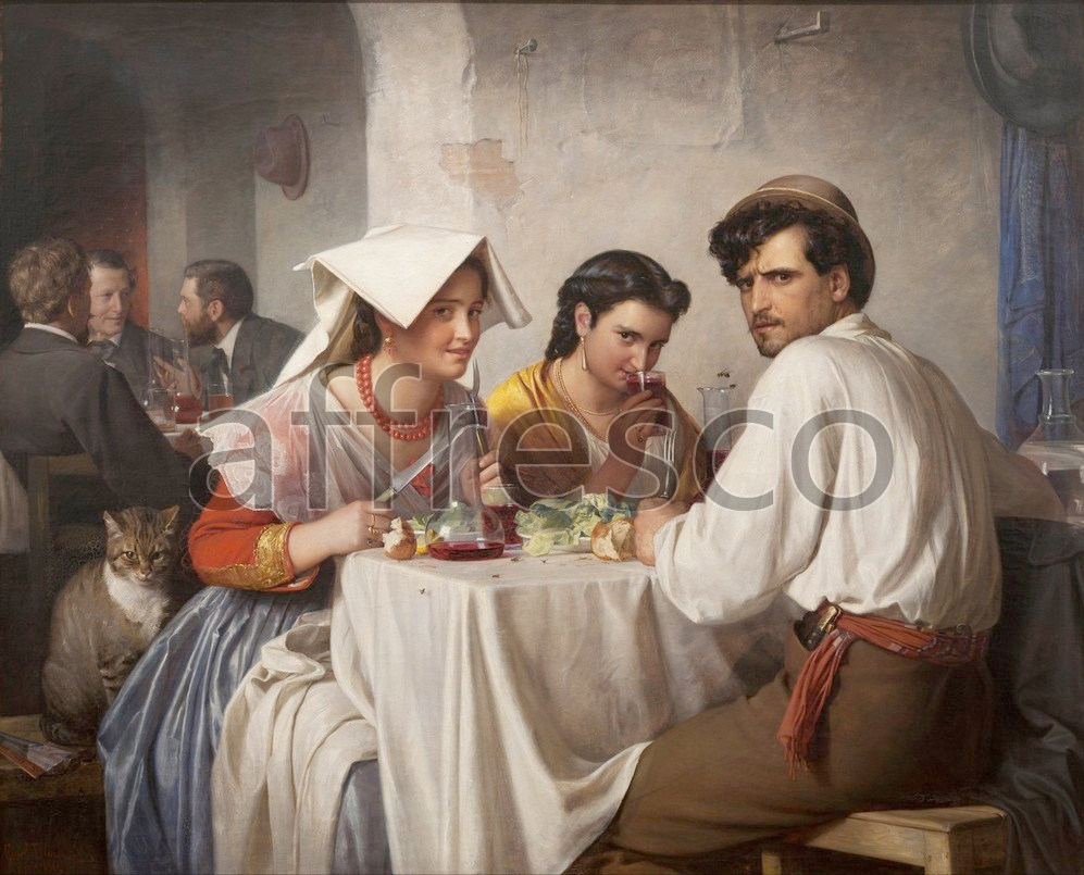 Scenic themes | Carl Bloch In a Roman Osteria | Affresco Factory