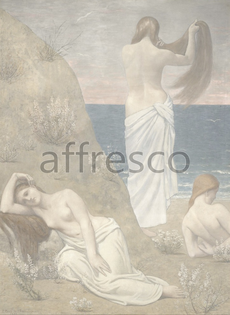 Classical antiquity themes | Pierre Puvis de Chavannes Young Girls by the Seaside | Affresco Factory