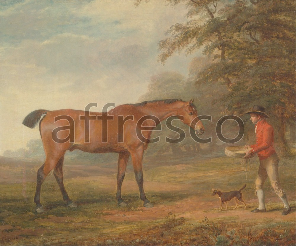 Paintings of animals | George Garrard A Bay Horse Approached by a Stable Lad with Food and a Halter | Affresco Factory