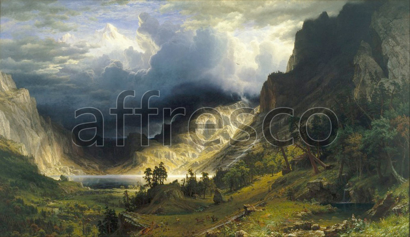 Classic landscapes | Albert Bierstadt A Storm in the Rocky Mountains Mt. Rosalie | Affresco Factory