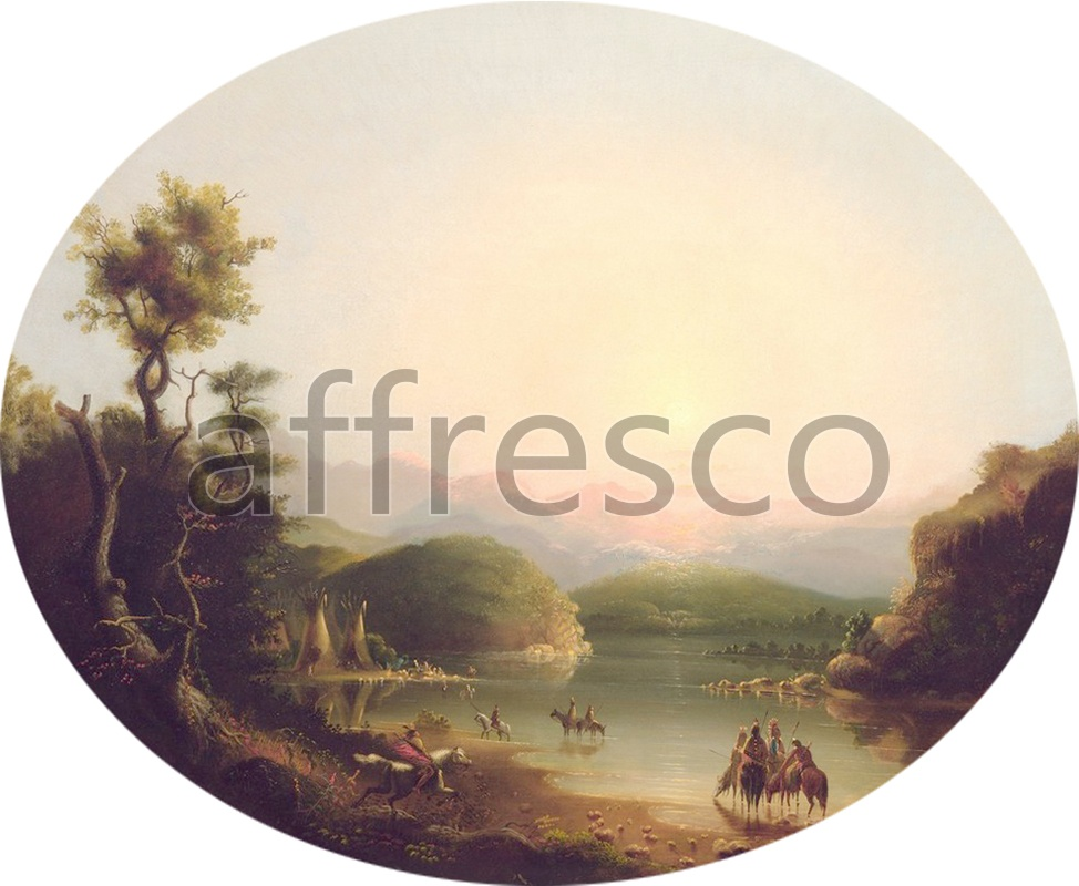 Classic landscapes | Alfred Jacob Miller Shoshone Indians at a Mountain Lake Lake Fremont | Affresco Factory