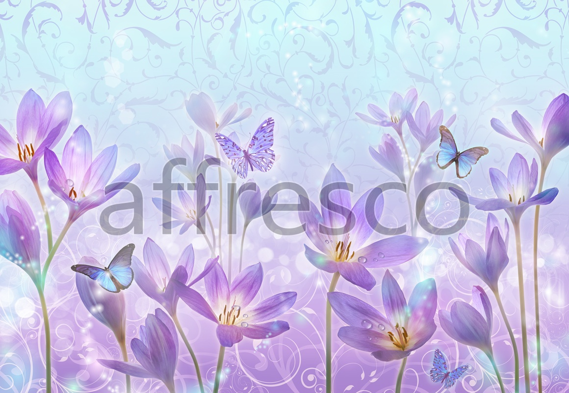 7237 | Flowers | sunny butterflies and flowers | Affresco Factory