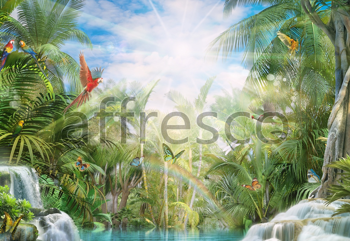 6515 | The best landscapes | Parrots on palms | Affresco Factory