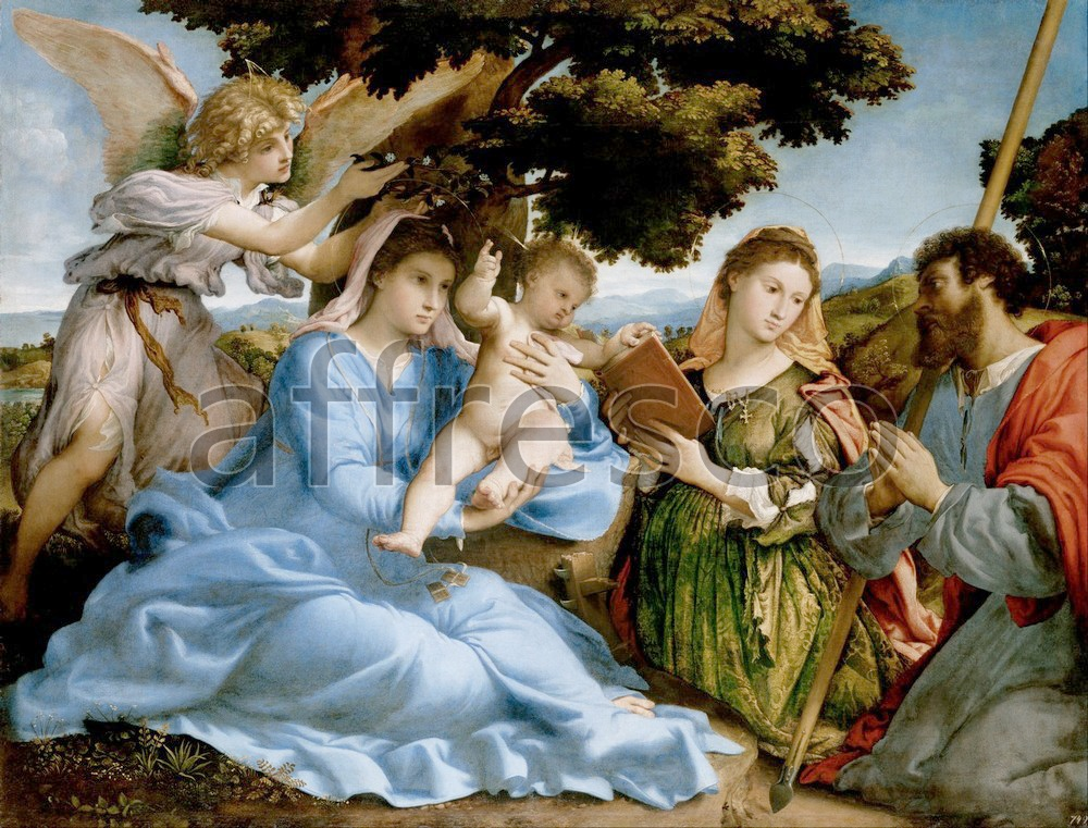 Biblical themes | Lorenzo Lotto Madonna and Child with Saints Catherine and Thomas | Affresco Factory