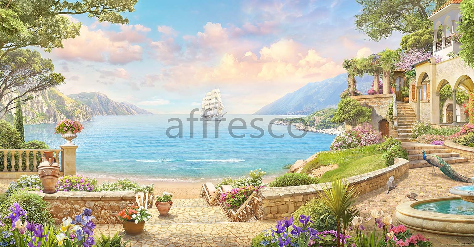 6873 | The best landscapes | Sailboat in the distance | Affresco Factory