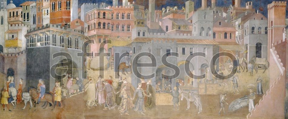 Scenic themes | Ambrogio Lorenzetti Effects of Good Government in the city | Affresco Factory