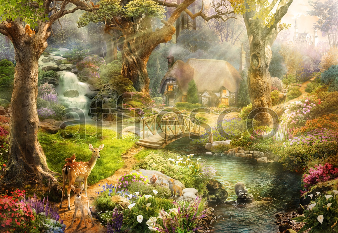 9721 | The best landscapes | fawn in fairytale forest | Affresco Factory