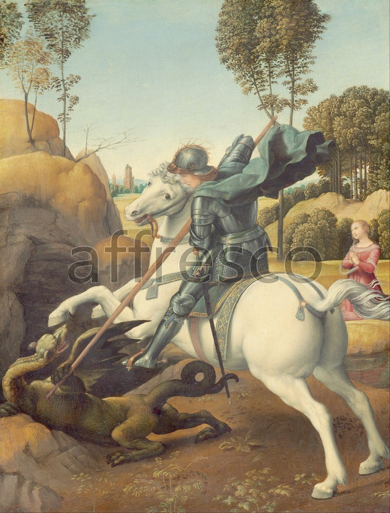 Biblical themes | Raphael Saint George and the Dragon | Affresco Factory