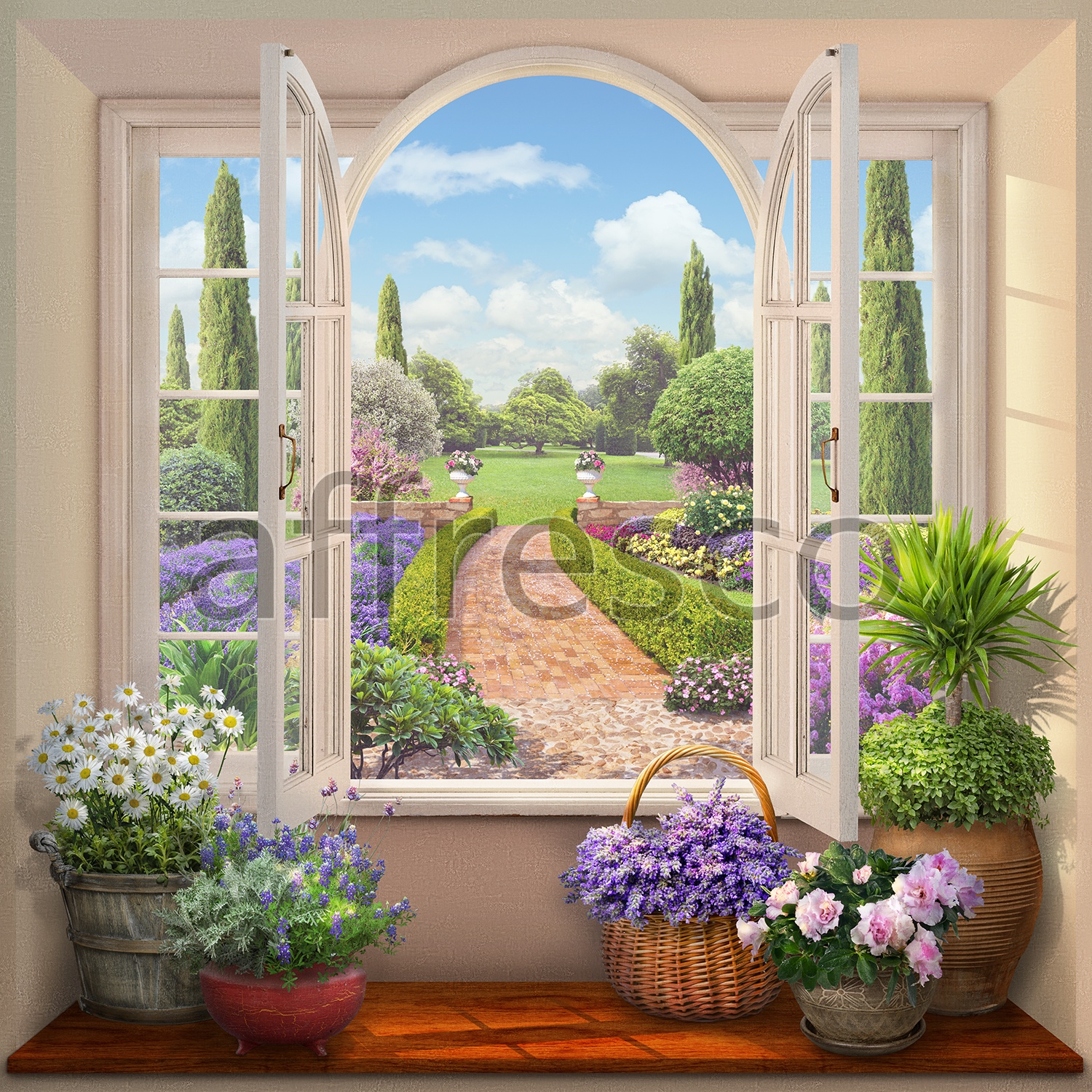 6527 | The best landscapes | View of a blooming garden | Affresco Factory