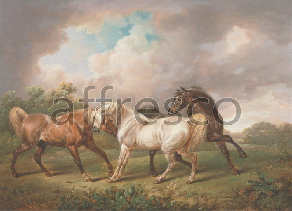 Paintings of animals | Charles Towne Three Horses in a Stormy Landscape | Affresco Factory