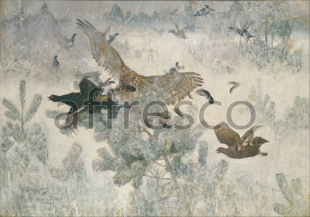 Paintings of animals | Bruno Liljefors Hawk and Black Game | Affresco Factory