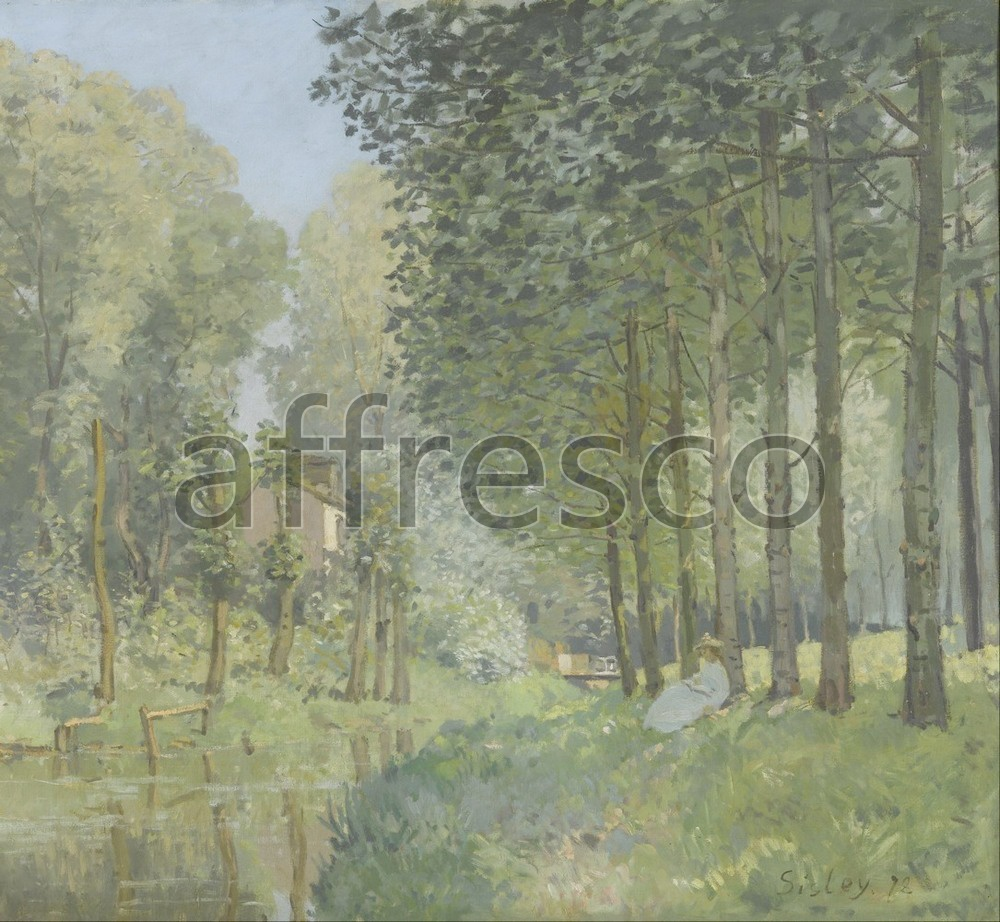 Impressionists & Post-Impressionists | Alfred Sisley Rest along the Stream Edge of the Wood | Affresco Factory