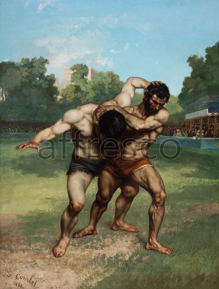 Scenic themes | Gustave Courbet The Wrestlers | Affresco Factory