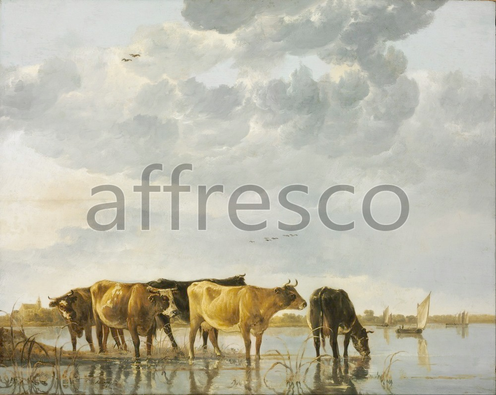 Paintings of animals | Aelbert Cuyp Cows in a River | Affresco Factory