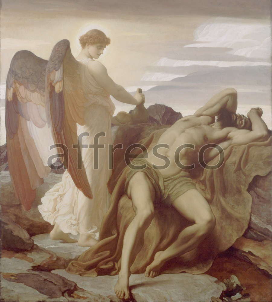Biblical themes | Frederic Lord Leighton Elijah in the Wilderness | Affresco Factory