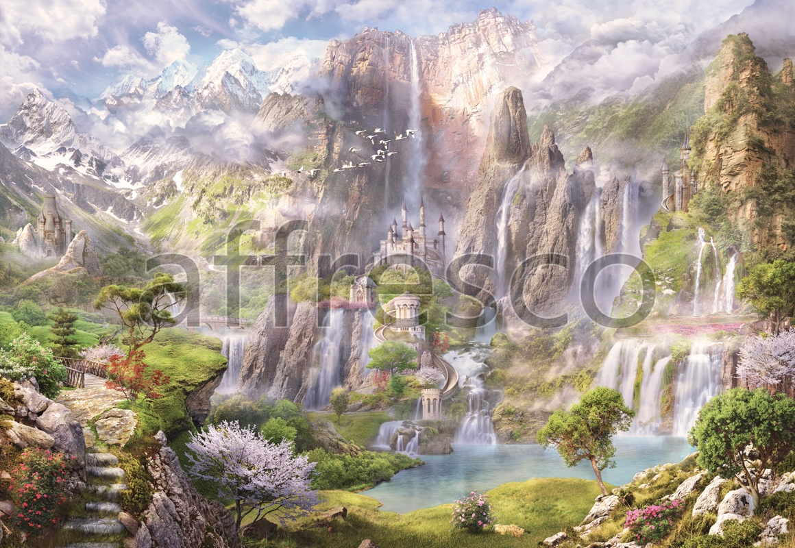 6494 | The best landscapes | Fantastic castle with waterfall | Affresco Factory