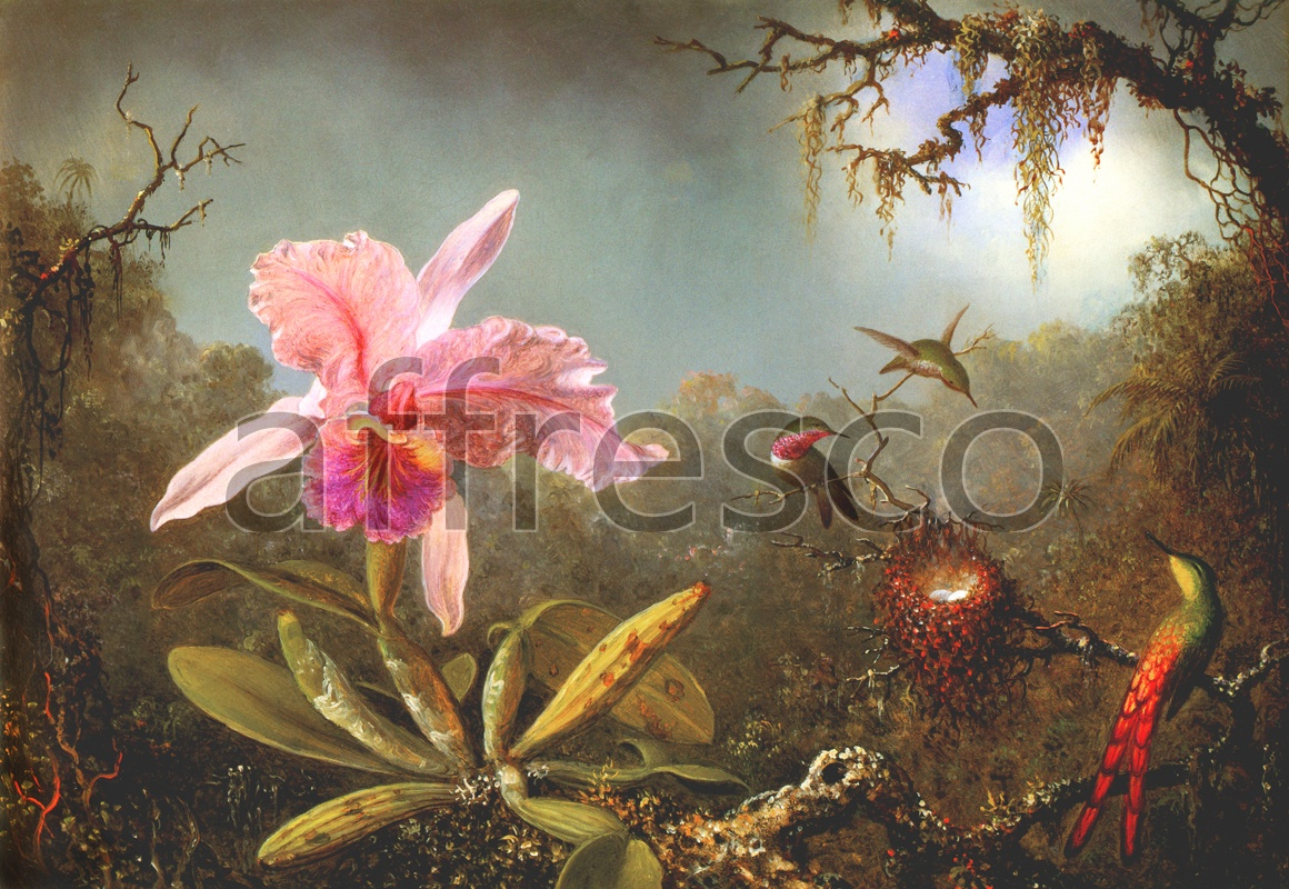 2067 | Still-Life Paintings | flower and hummingbird | Affresco Factory