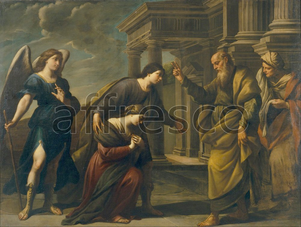 Biblical themes | Andrea Vaccaro Raguels Blessing of her Daughter Sarah before Leaving Ecbatana with Tobias | Affresco Factory
