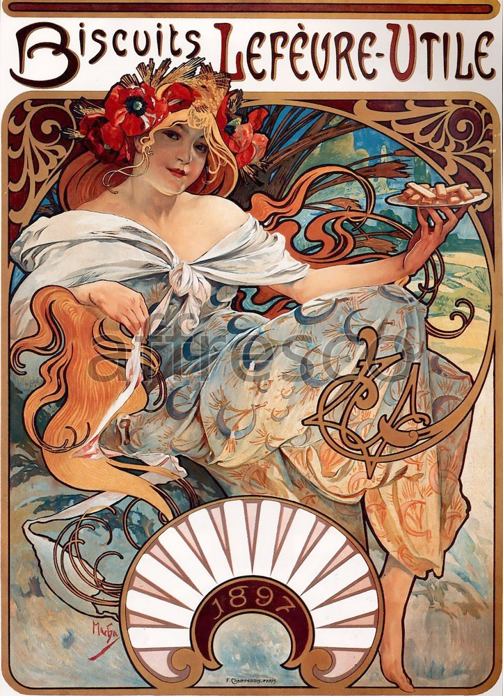 Scenic themes | Alfons Mucha Biscuits Lefevre Utile | Affresco Factory